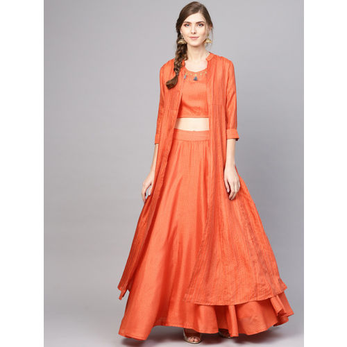 AKS Orange & Charcoal Grey Checked Ready to Wear Lehenga with Choli & Ethnic Jacket