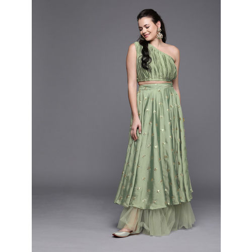 Inddus Green Semi-Stitched Sequinned Lehenga & Blouse With Ruffle Detail