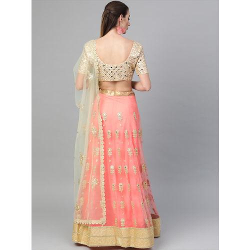 Inddus Peach-Coloured & Beige Embellished Semi-Stitched Lehenga & Unstitched Blouse with Dupatta