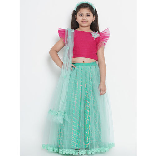 Bitiya by Bhama Girls Sea Green & Pink Solid Ready to Wear Lehenga & Blouse with Dupatta