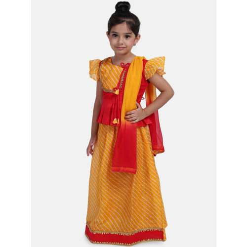 BownBee Girls Yellow & Red Printed Ready to Wear Lehenga & Blouse with Dupatta