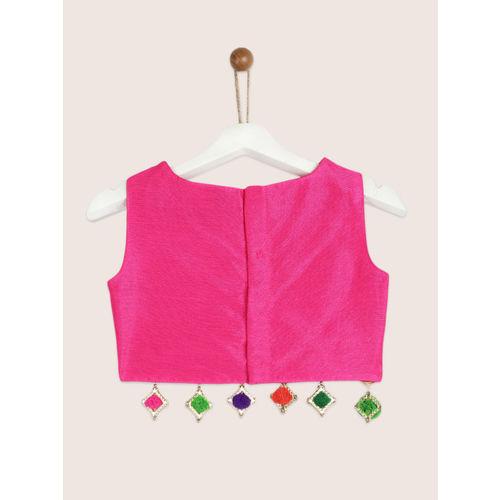YK Girls Pink & Yellow Embellished Ready to Wear Lehenga & Blouse with Dupatta