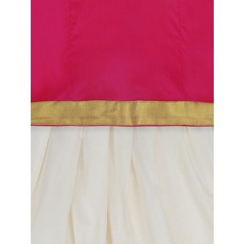 BownBee Girls Pink & White Solid Ready to Wear Lehenga & Blouse