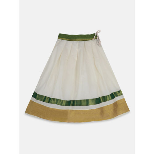 BownBee Girls Green & White Solid Ready to Wear Lehenga & Blouse