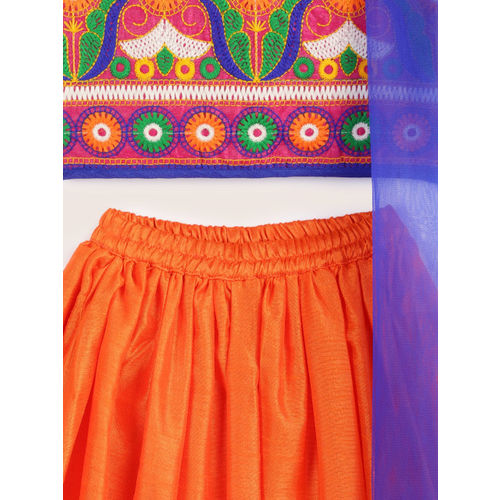 YK Girls Multicoloured Embroidered Ready to Wear Lehenga & Blouse with Dupatta
