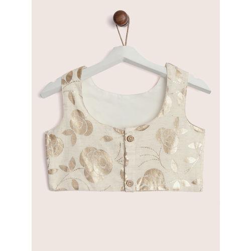 YK Girls Pink & Off-White Printed Ready to Wear Lehenga & Blouse with Dupatta