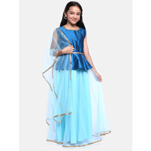 YK Girls Blue & Gold-Toned Printed Ready to Wear Lehenga & Blouse with Dupatta