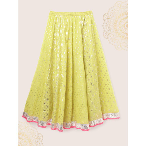 Biba Girls Pink & Green Embroidered Ready to Wear Lehenga & Blouse with Shrug