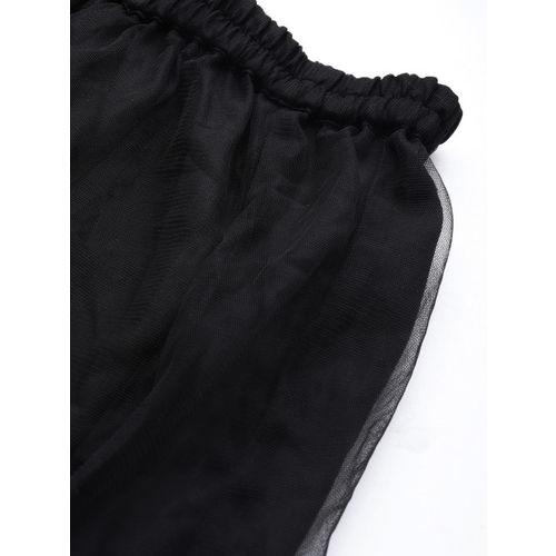 YK Girls Black & Maroon Solid Ready to Wear Lehenga & Velvet Blouse with Dupatta