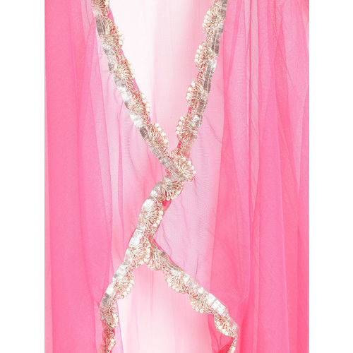 Biba Girls Green & Pink Embroidered Ready to Wear Lehenga & Blouse with Dupatta
