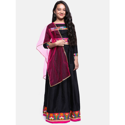 YK Girls Black & Pink Embroidered Ready to Wear Lehenga & Blouse with Dupatta