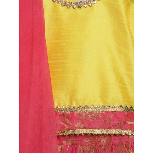 BownBee Girls Pink & Yellow Solid Ready to Wear Lehenga & Blouse with Dupatta