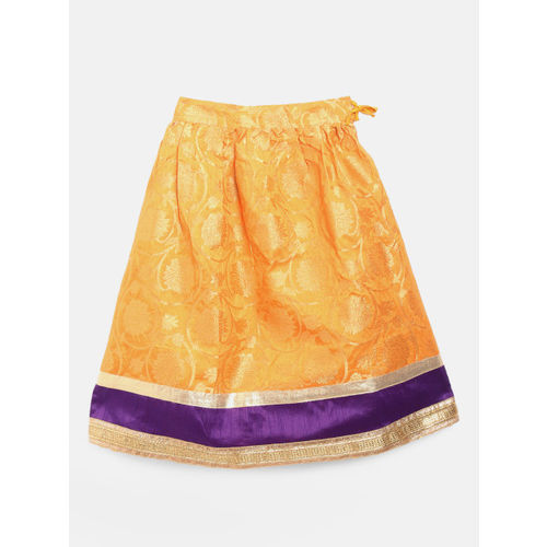 BownBee Girls Orange & Purple Solid Ready to Wear Lehenga & Blouse with Dupatta