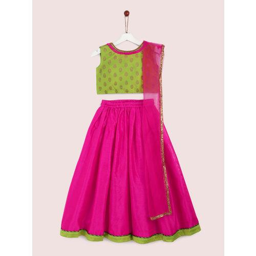 YK Girls Green & Pink Printed Ready to Wear Lehenga & Blouse with Dupatta
