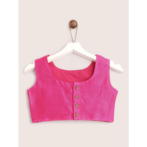 YK Girls Green & Fuchsia Pink Solid Ready to Wear Lehenga & Blouse with Dupatta