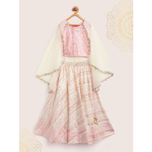 Biba Off-White & Pink Printed Ready to Wear Lehenga with Blouse and Attached Cape