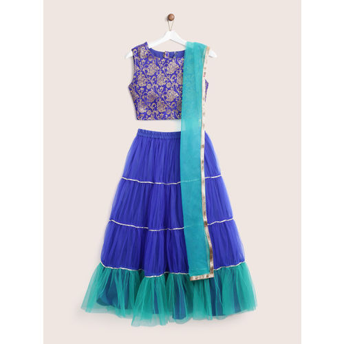 YK Girls Blue & Green Woven Design Ready to Wear Lehenga & Blouse with Dupatta