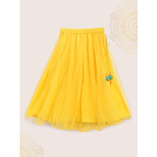 Biba Girls Yellow & Green Printed Ready to Wear Lehenga & Blouse with Dupatta