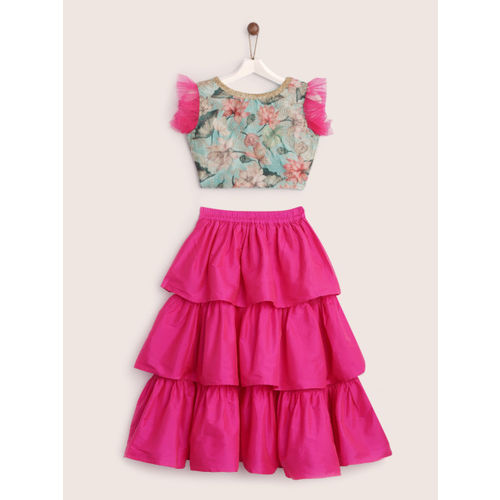 YK Girls Pink & Sea Green Ready to Wear Tiered Lehenga with Blouse