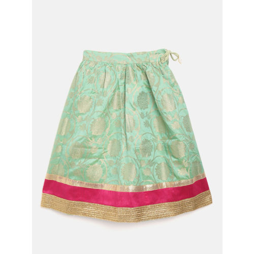 BownBee Girls Sea Green & Magenta Solid Ready to Wear Lehenga & Blouse with Dupatta