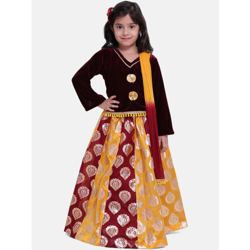 BownBee Girls Maroon & Mustard Yellow Solid Ready to Wear Lehenga & Blouse with Dupatta