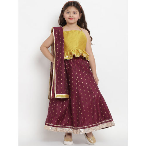 Bitiya by Bhama Girls Mustard Yellow & Burgundy Printed Ready to Wear Lehenga Choli