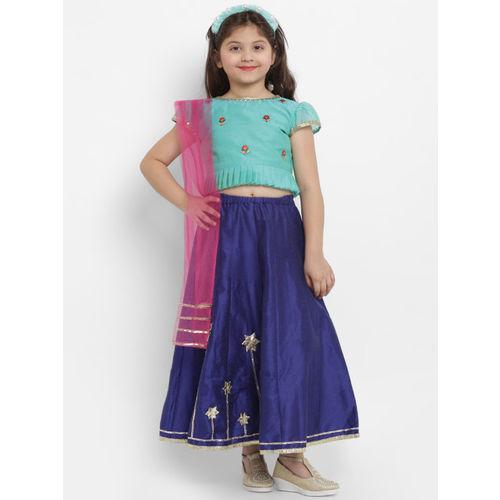 Bitiya by Bhama Girls Green & Blue Embroidered Ready to Wear Lehenga & Blouse with Dupatta