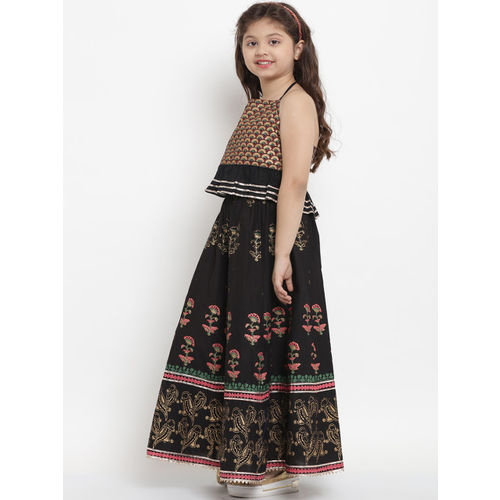 Bitiya by Bhama Black & Gold-Coloured Block Printed Ready to Wear Lehenga with Blouse