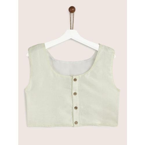YK Girls Off-White & Pink Woven Design Ready to Wear Lehenga & Blouse with Dupatta