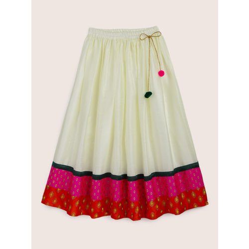 YK Girls Off-White & Pink Woven Design Ready to Wear Lehenga & Blouse with Dupatta