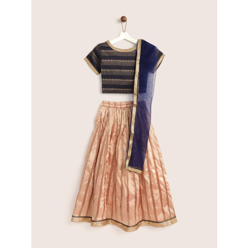YK Girls Peach-Coloured & Navy Blue Printed Ready to Wear Lehenga & Blouse with Dupatta