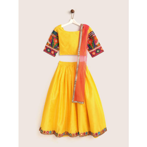 YK Girls Yellow & Pink Solid Ready to Wear Lehenga & Blouse with Dupatta