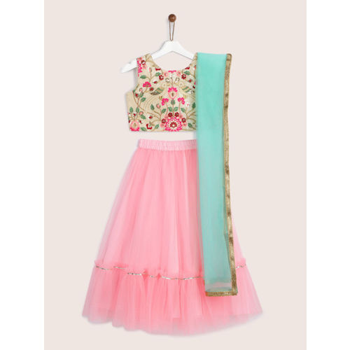 YK Girls Cream-Coloured & Pink Embroidered Ready to Wear Lehenga & Blouse with Dupatta