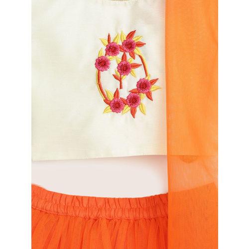 YK Girls Orange & Cream-Coloured Ready to Wear Lehenga & Blouse with Dupatta
