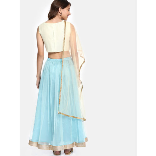 YK Girls Off-White & Blue Embroidered Ready to Wear Lehenga & Blouse with Dupatta