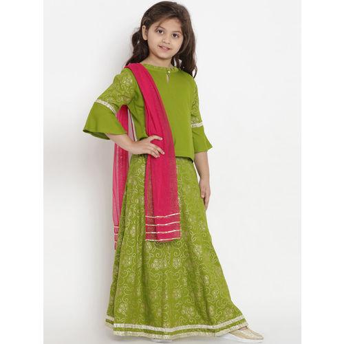 Bitiya by Bhama Girls Green & Fuchsia Solid Ready to Wear Lehenga & Blouse with Dupatta