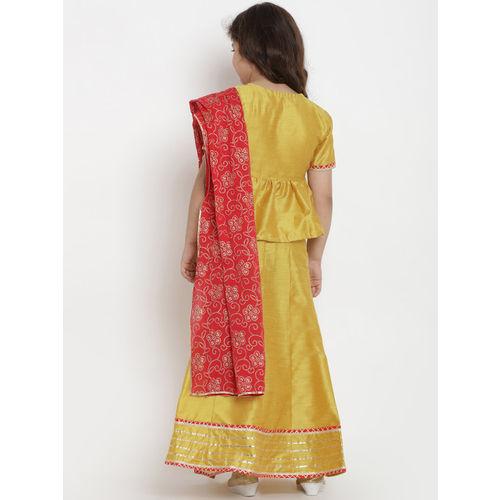 Bitiya by Bhama Girls Mustard Yellow & Red Ready to Wear Lehenga & Blouse with Dupatta