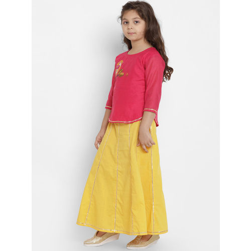 Bitiya by Bhama Girls Yellow & Yellow Solid Ready to Wear Lehenga & Blouse with Dupatta