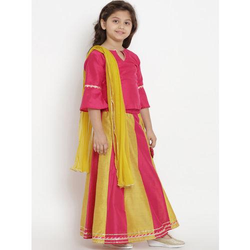 Bitiya by Bhama Girls Fuchsia & Mustard Solid Ready to Wear Lehenga & Blouse with Dupatta