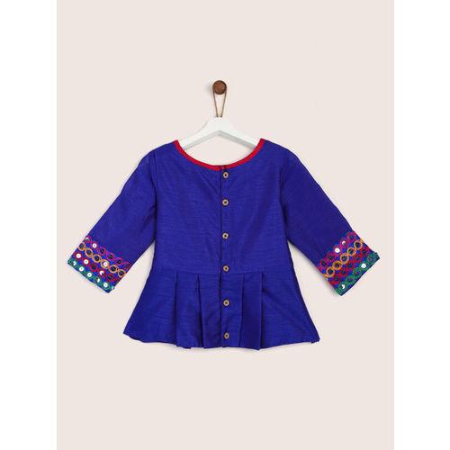 YK Girls Pink & Blue Embellished Ready to Wear Lehenga & Blouse with Dupatta