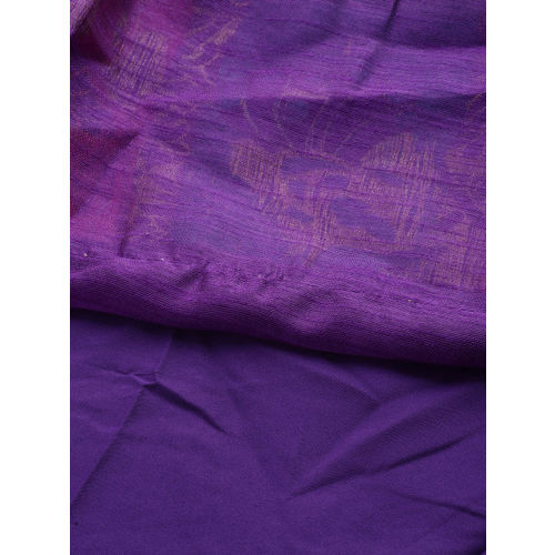 YK Girls Golden & Purple Woven Design Ready to Wear Lehenga & Blouse with Dupatta