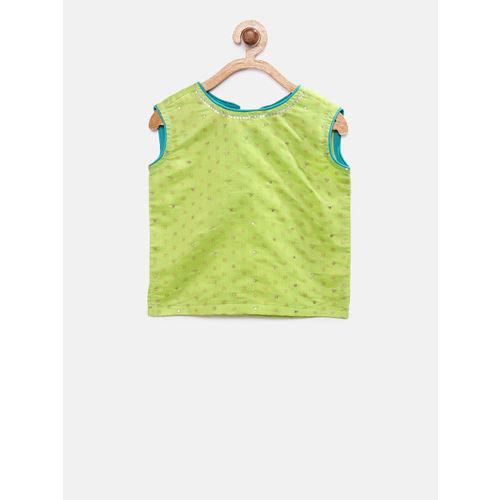 Global Desi Girls Lime Green & Teal Printed Ready to Wear Lehenga & Blouse with Dupatta