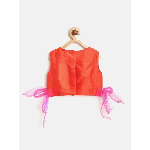 pspeaches Girls Pink & Orange Embellished Ready to Wear Lehenga & Blouse with Dupatta