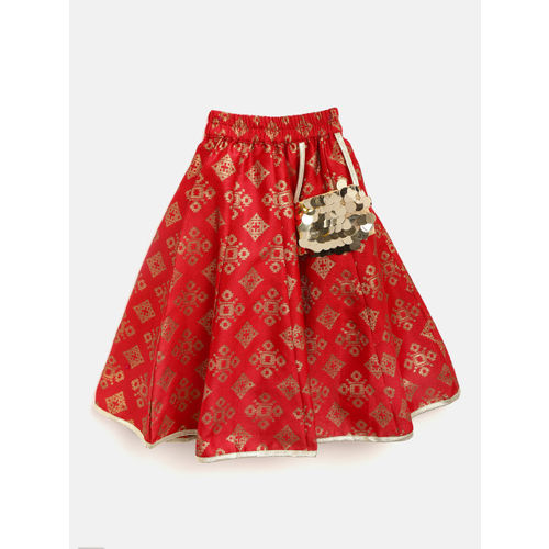 pspeaches Girls Red & Golden Sequinned Ready to Wear Lehenga & Blouse with Dupatta