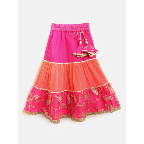 pspeaches Girls Pink & Orange Embroidered Ready to Wear Lehenga & Blouse with Dupatta