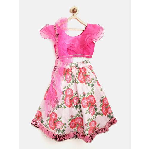 pspeaches Girls Pink & Green Ruffled Ready to Wear Lehenga & Blouse with Dupatta