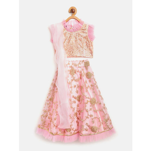 pspeaches Girls Pink & Golden Sequinned Ready to Wear Lehenga & Blouse with Dupatta