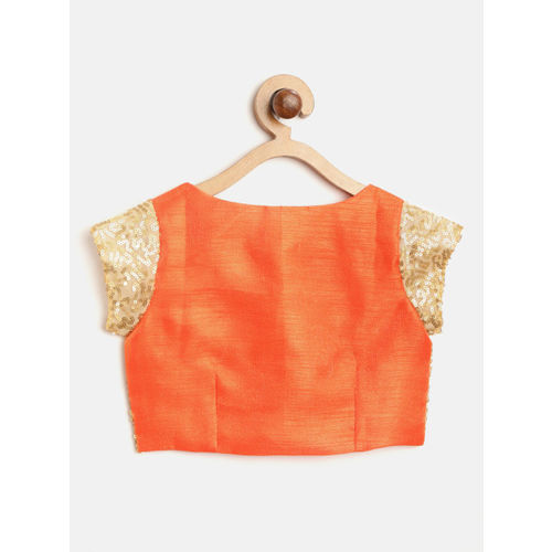 pspeaches Girls Orange & Golden Sequinned Ready to Wear Lehenga & Blouse with Dupatta
