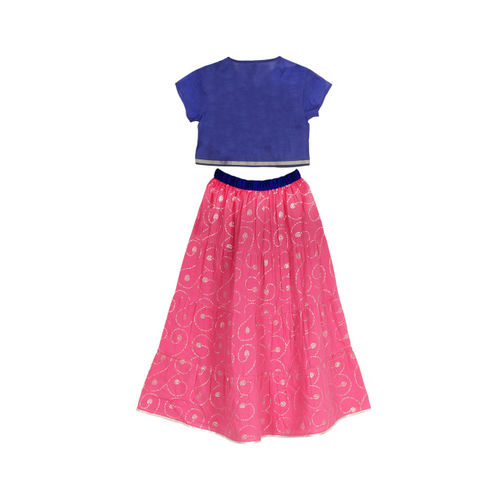 My Little Lambs Blue & Magenta Ready to Wear Lehenga with Blouse