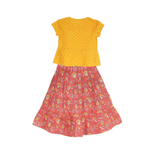 My Little Lambs Yellow & Pink Ready to Wear Lehenga with Blouse